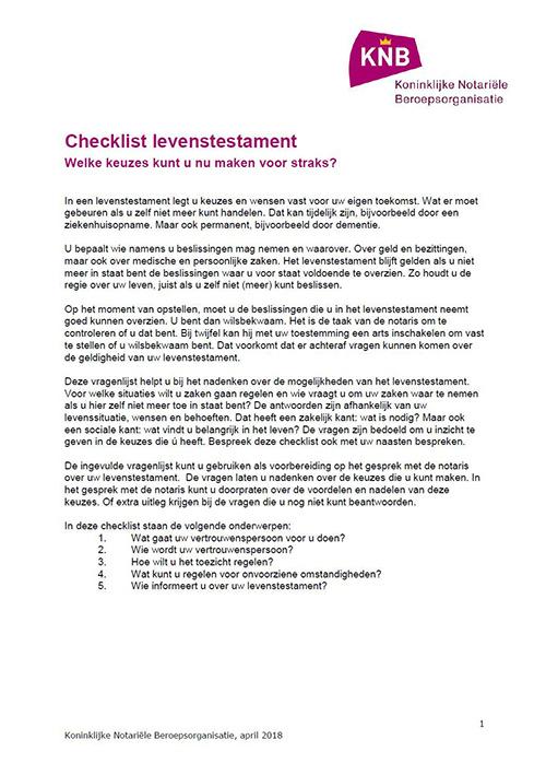 checklist levenstestament